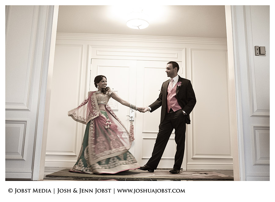 Indian Wedding Photographers Michigan before reception begins couple dancing in their hotel suite room