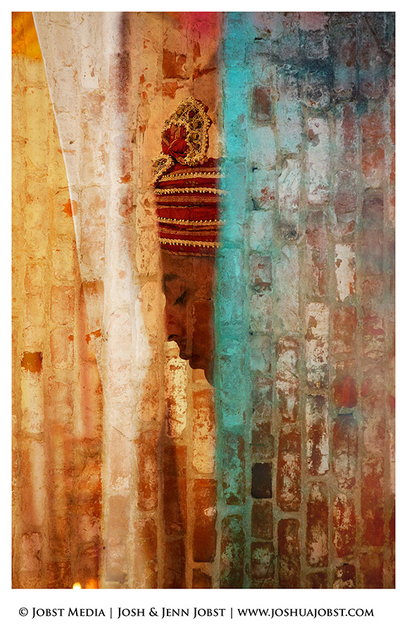 Indian Wedding Photographers Michigan groom waits for the reveal of his bride in this layered collage of colorful bricks
