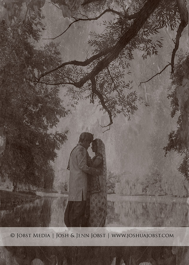 Indian Wedding Photographers Michigan old fashioned photo shot at a park with trees overhanging in the scene