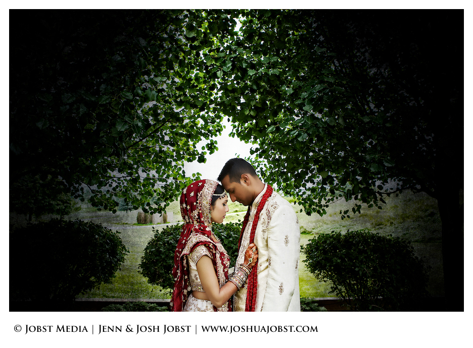 Indian Wedding Photographers Michigan awesome shot of bride and groom with heads touching each other with beautiful tree foliage background of the loving couple